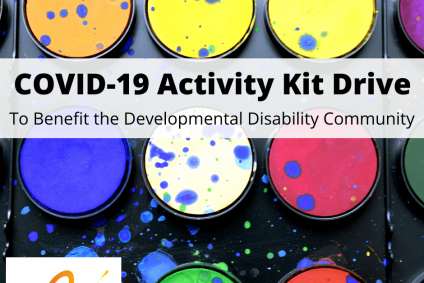 """Close up picture of paint kit with The Arc of HR's logo on bottom right corner. Text reads """"COVID-19 Activity Kit Drive, To Benefit The Developmental Disability Community"""